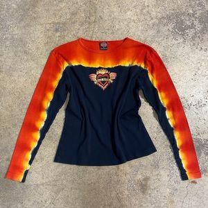 90s Harley Davidson Kauai Flame Tie Dye Heart Tee